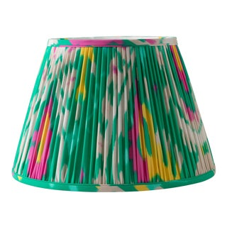 """Katy's Ikat in Emerald 14"""" Lamp Shade, Kelly Green For Sale"""