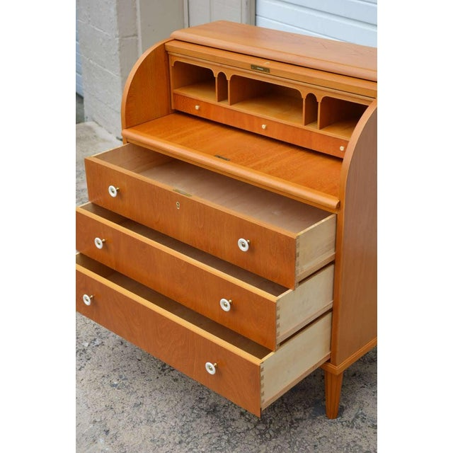 Brown Swedish Art Moderne Elm Roll-Top Secretary Writing Desk For Sale - Image 8 of 11