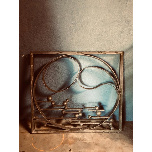 Antique Handcrafted Bronzed Iron Art Deco Panel For Sale - Image 10 of 10
