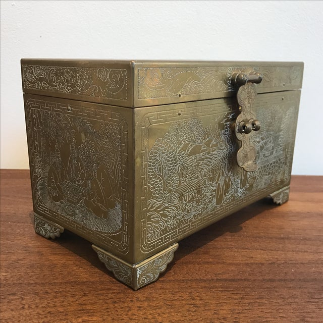 Frederick Cooper Chicago Brass Trinket Jewelry Box For Sale - Image 4 of 8
