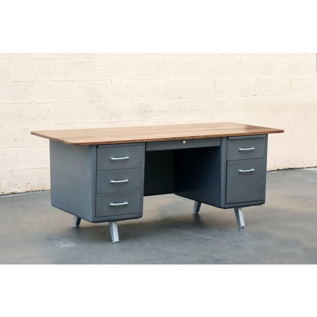 Metal Mid Century Tanker Desk With Custom Walnut Top For Sale - Image 7 of 7