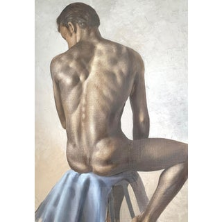 Circa 1950 Seated Male Nude Oil Painting by Roberto Lupetti For Sale