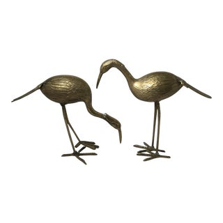 Standing Brass Cranes - A Pair For Sale