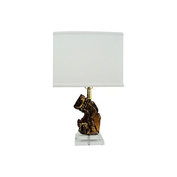 Architectural Carved Wood and Lucite Table Lamp - Image 1 of 4