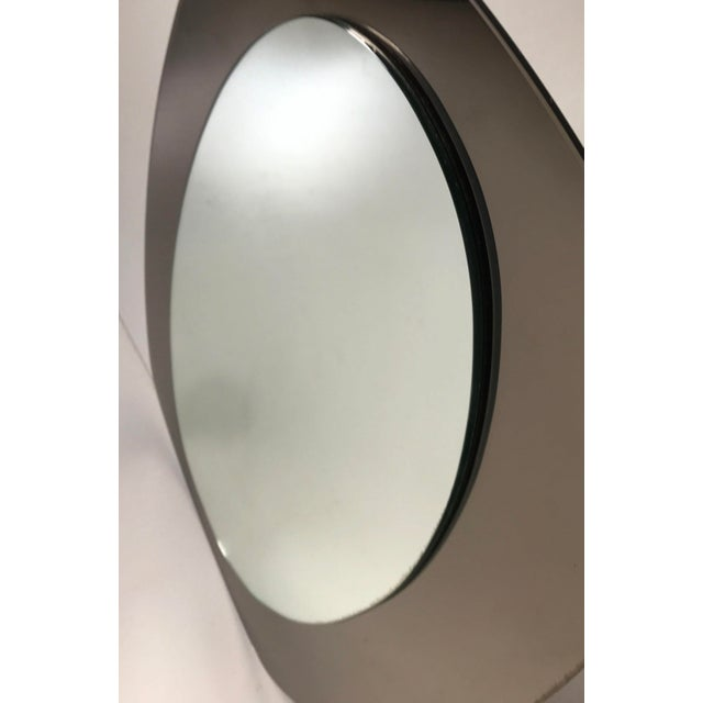 """Beveled Italian mirror by Veca circa 1960s Back smoke brown mirror with a regular mirror on the top ( 26""""H, 15""""W)"""
