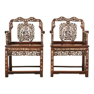 19th Century Mother-Of-Pearl Inlay Chairs- A Pair For Sale