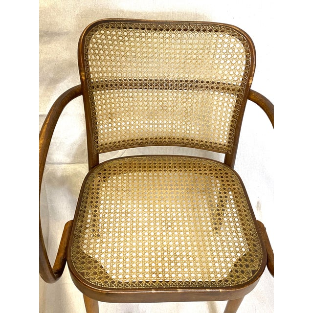 Rare Antique Stendig Set of 4 Bentwood French Stitched Nylon Cane Wood Dining Chairs For Sale - Image 10 of 13