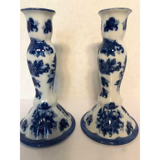 1990s 1990s Chinioserie Blue & White Porcelain Candlesticks - a Pair For Sale - Image 5 of 6