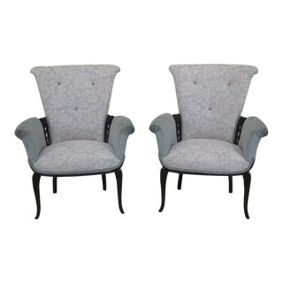 1940s Vintage French Style Carved Upholstered Fireside Chairs- A Pair For Sale