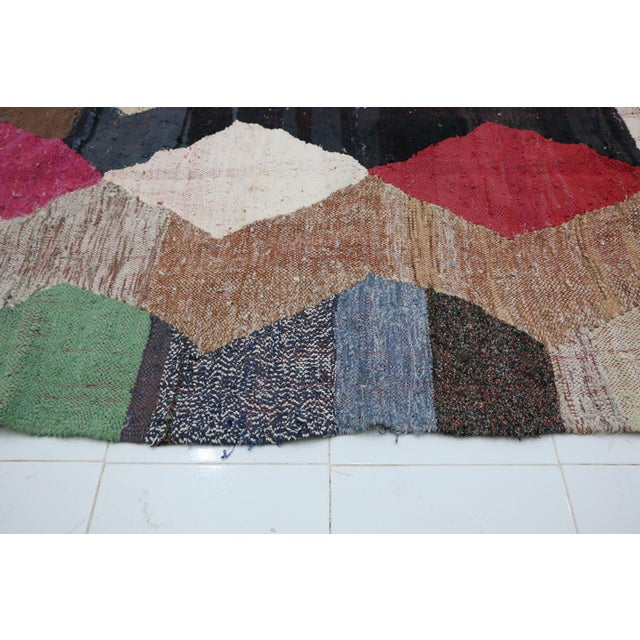 "1990s Kilim Boucherouite Moroccan Kilim, 4'4"" X 7'3"" Feet For Sale - Image 5 of 6"