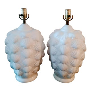 Vintage Gloss White Clamshell Plaster Coastal Table Lamps- a Pair For Sale