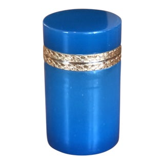 19th Century Blue Opaline Glass and Brass Cylindrical Box For Sale
