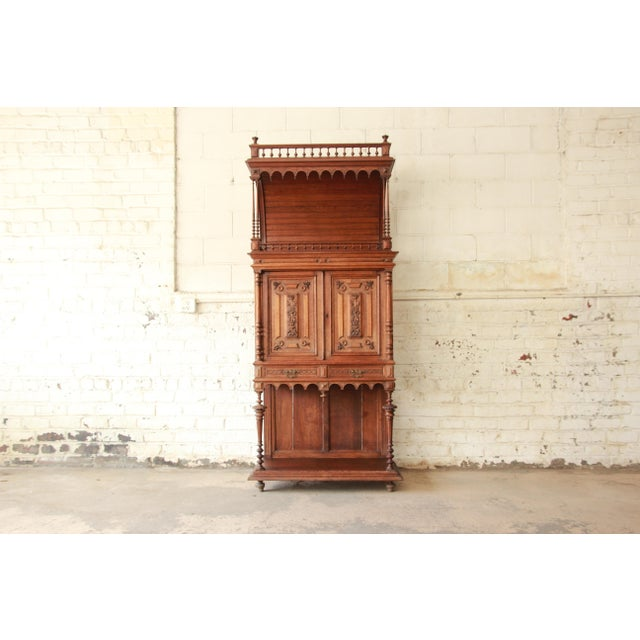 Antique Carved Oak Tall French Bar Cabinet For Sale - Image 13 of 13