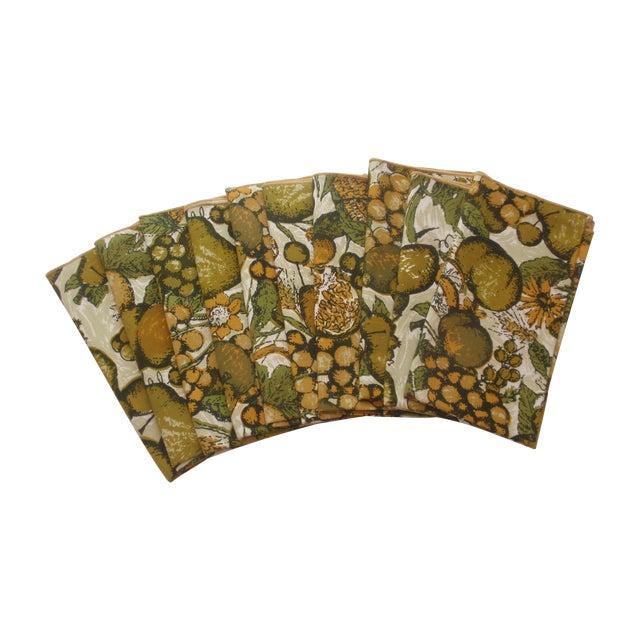 Gold Green Fruit Linen Napkins - Set of 10 - Image 1 of 4
