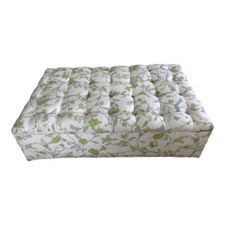 Custom Silk Upholstered Oversized Ottoman For Sale