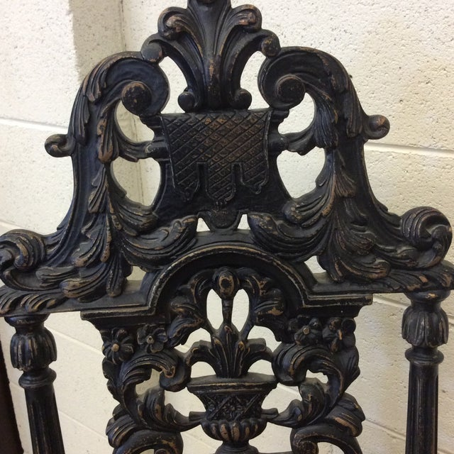Fabric Carved Mahogany Jacobean Style High Back Chairs-A Pair For Sale - Image 7 of 13