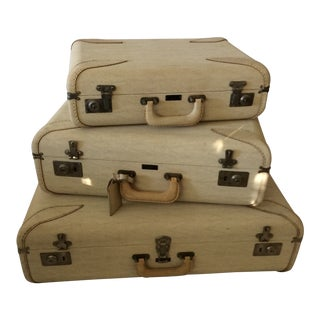 Set of 3 Vintage Mid-Century Modern Travelaire Luggage Suitcases