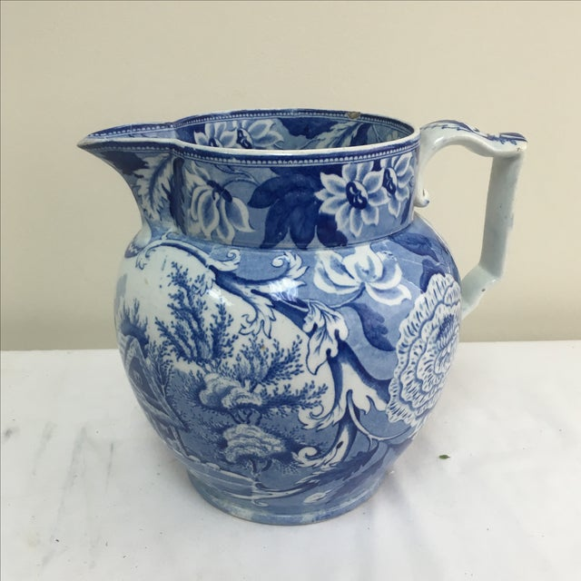 Antique 19th C. English Blue Transferware Pitcher - Image 2 of 8