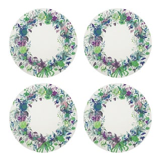 """Wreath Flowers Blue, 16"""" Round Pebble Placemats, Set of 4 For Sale"""