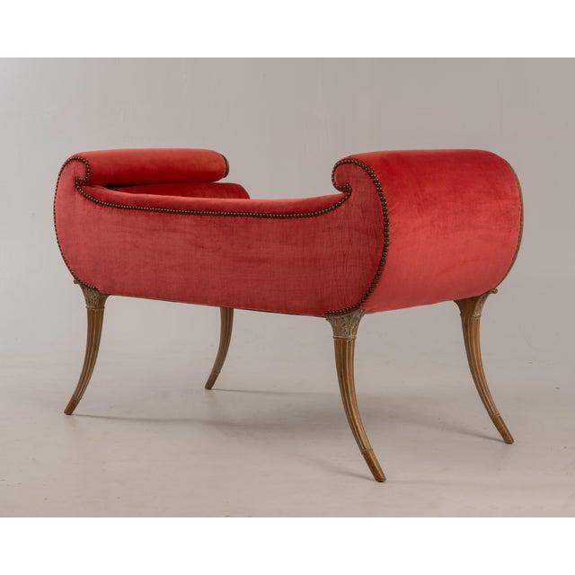 Wood Antique Regency Neoclassical Klismos Saber Leg Bench For Sale - Image 7 of 13