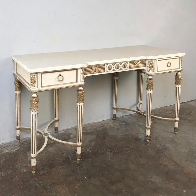 Italian Antique Italian Neoclassical Painted Sofa Table ~ Vanity ~ Writing Desk For Sale - Image 3 of 13