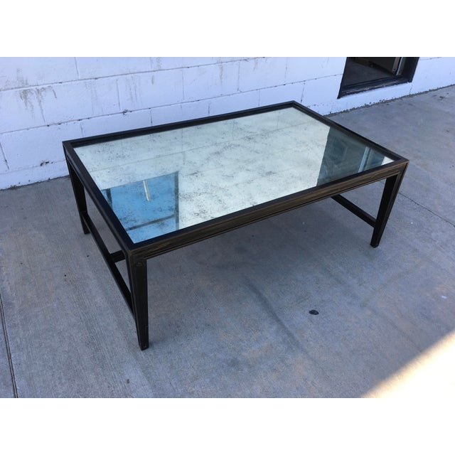 Antique Mirror Top Coffee Table With Ebonized Black Walnut Frame For Sale - Image 9 of 13