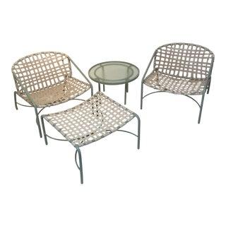 Vintage Brown Jordan Table, Ottoman & Chairs - Set of 4