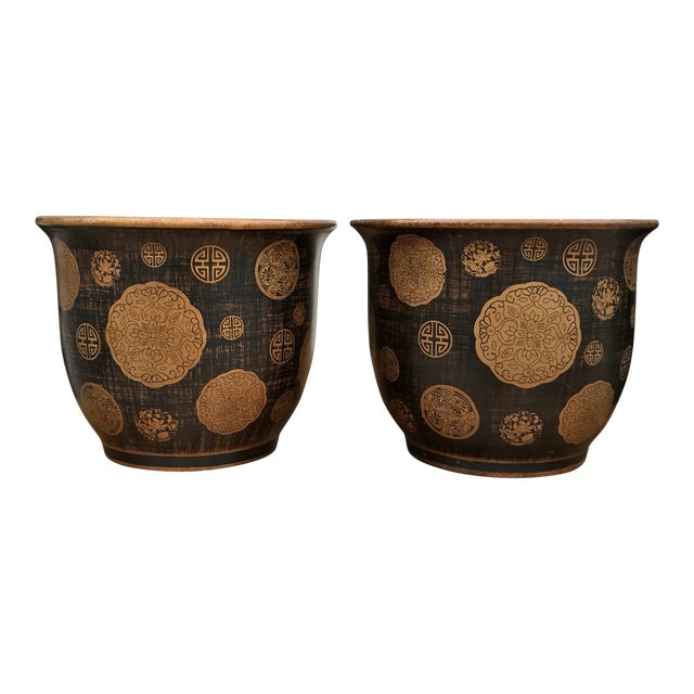 Late 20th Century Cachepots With Greek Key Design - a Pair For Sale