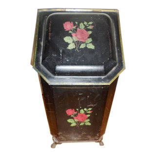 """Antique Victorian Tole Ware Coal Scuttle Fireplace Box With Hand Painted """"Bouquet of Flowers"""" For Sale"""