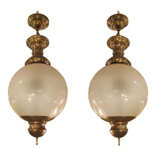 1960s Mid-Century Modern Brass & Glass Chandeliers by Dominioni - a Pair For Sale