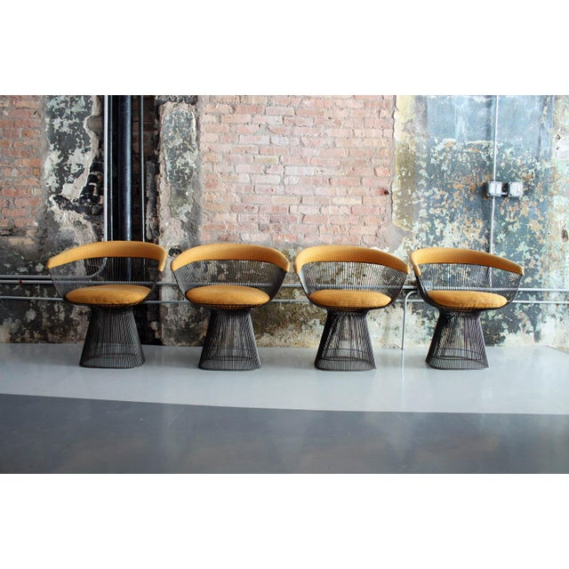 Original Walnut and Bronze Dining Set With 4 Chairs by Warren Platner for Knoll For Sale - Image 10 of 13