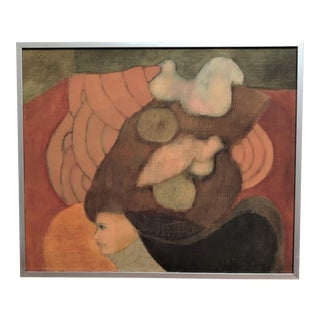 Surrealist Oil Pastel & Pencil Painting on Canvas by Frank Rakoncay For Sale