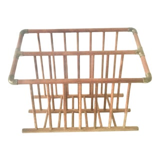 Mid-Century Wood and Brass Magazine Rack For Sale
