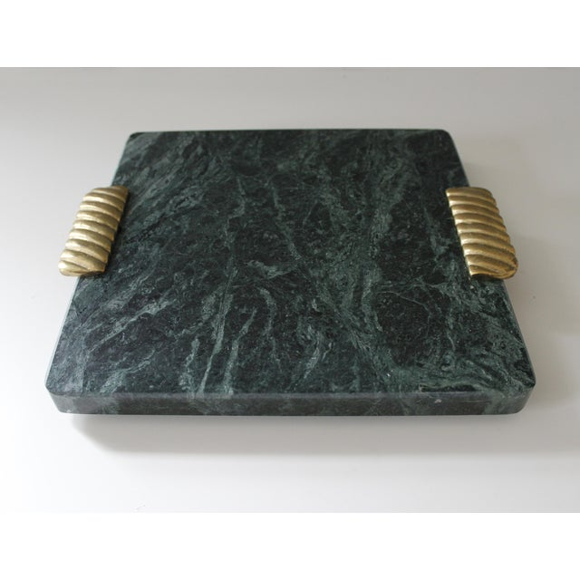 Beautiful Georges Briard green marble cutting board or serving tray with brass handles. Original label is intact at...