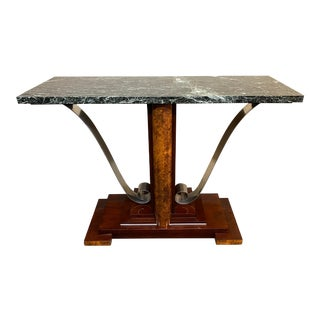 Antique Art Deco Marble + Burled Wood Console For Sale