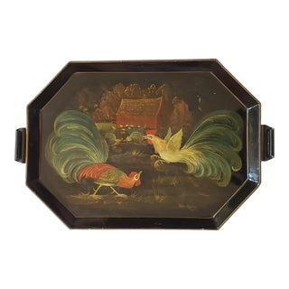 Vintage Peter Koster Signed Hand Painted Tole Tray For Sale
