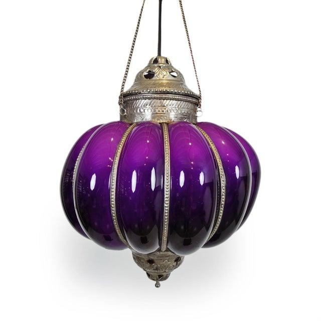 Vintage Purple Pumpkin Lantern For Sale - Image 4 of 5