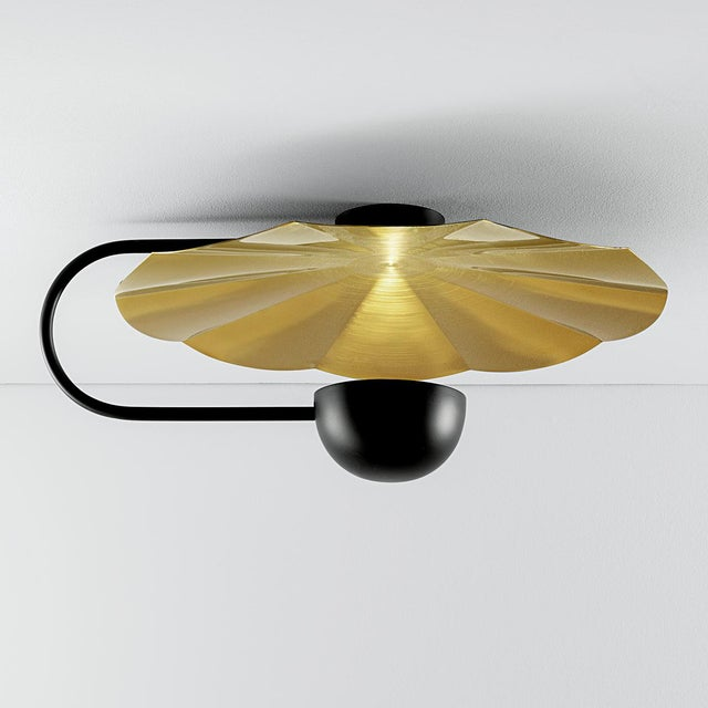 """Large Reflector Wall Light in Brushed Brass With Satin Black (19.7"""") For Sale In Greensboro - Image 6 of 8"""