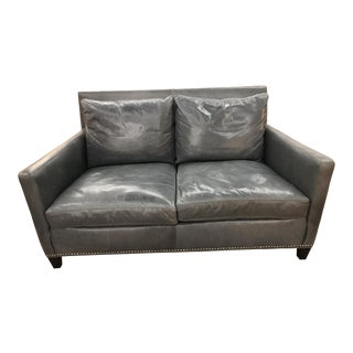 New Lee Industries Leather Loveseat With Silver Nail Heads