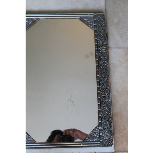 Antique French Art Deco Carved Wood Distressed Silver Wall Mirror C1920's For Sale - Image 4 of 10