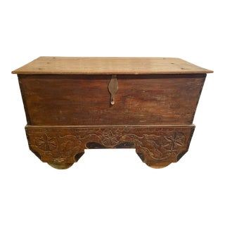 Antique Teak Storage Chest With Wheels For Sale