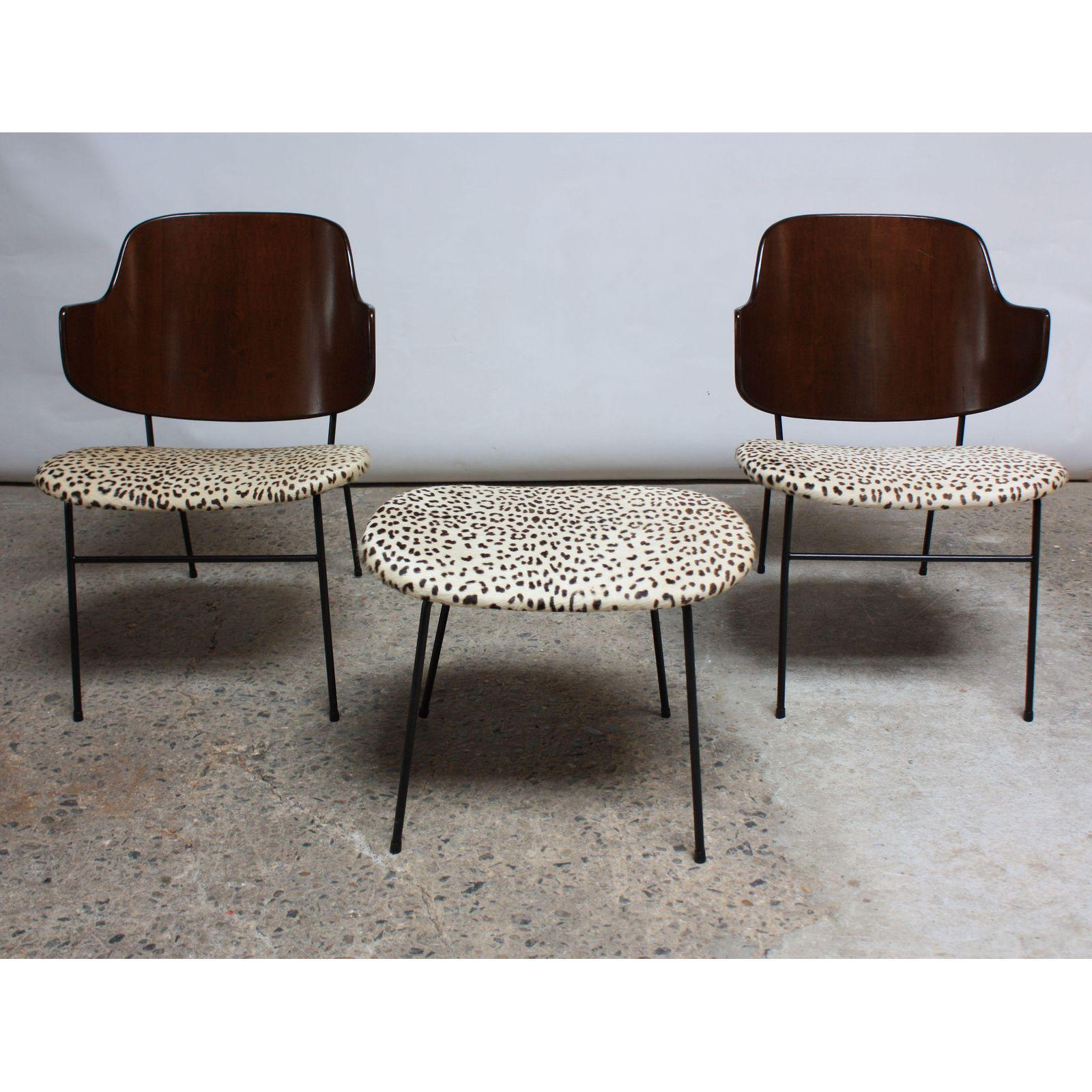 Rare IB Kofod Larsen Penguin Chairs And Ottoman In Leopard Print Appaloosa  Hair   Image 3