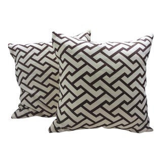 Quadrille Pillows in Deep Chocolate & Cream - a Pair For Sale