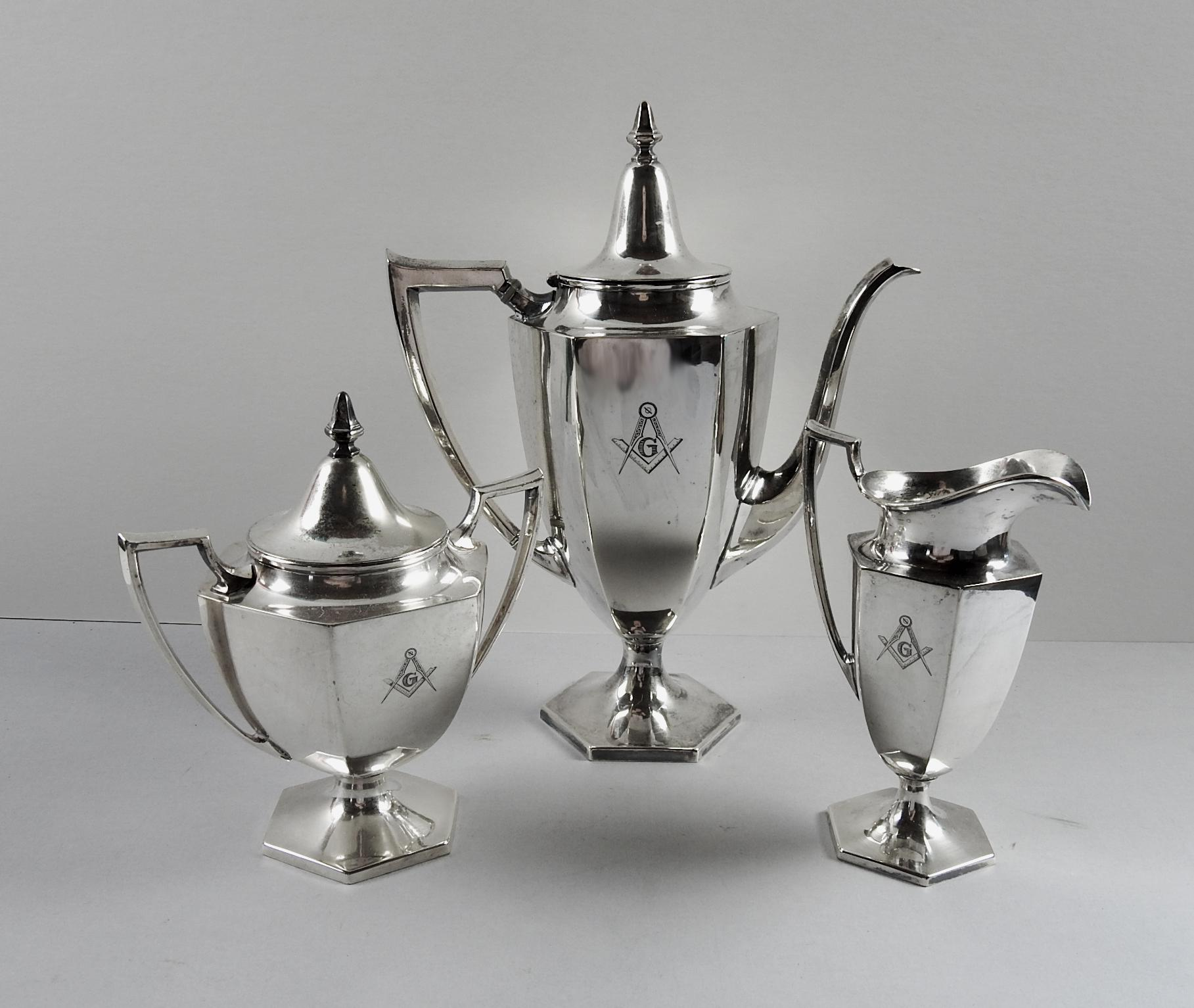 Masonic Engraved Silver-Plate Tea Set - Set of 3 - Image 2 of 4  sc 1 st  Chairish : silver plated tea sets - pezcame.com