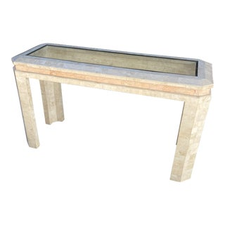 1980s Maitland Smith Tessellated Stone Console Table For Sale