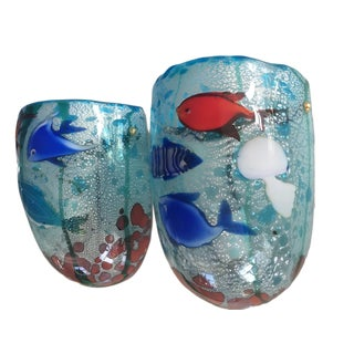 Barbini for Cenedese Murano Aquarium Glass Wall Lamps - A Pair For Sale