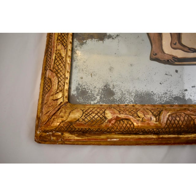19th C. French Exotic Hand-Painted Decoupage Mirror, Animal Trainer, Monkey & Bear For Sale - Image 9 of 13