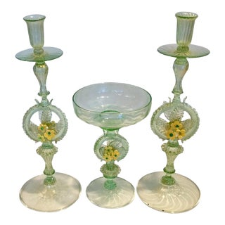 Early Venetian Murano Center Console Set With Candles and Center Piece - Set of 3 For Sale