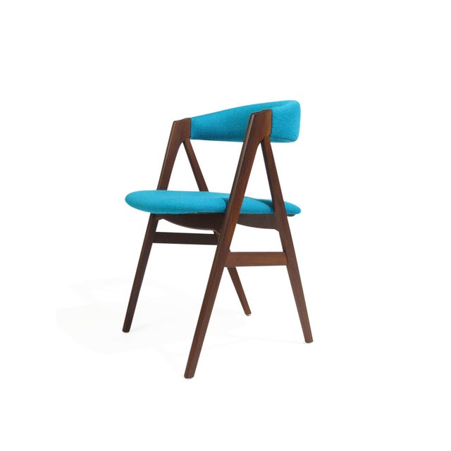 Blue Mid Century A-Frame Danish Turquoise Wool Dining Chairs - Set of 4 For Sale - Image 8 of 9