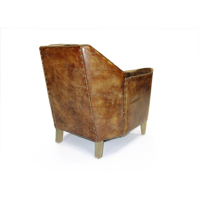 Modern Rustic Leather & Velvet Club Chair - Image 2 of 3